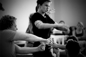 Austin McKenzie in rehearsals. Photo: Deaf West Theater.
