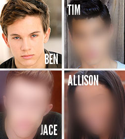 WHO ARE THE ACTORSplaying Tim, Jace and Allison? We're making that announcement on Friday, November 14, when the Blue Seraph Productions newsletter is sent out with the link to our Indiegogo campaign page, where we're posting the casting news. If you don't subscribe, 550 other people will find out before you do.