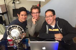 AUSTIN McKenzie (center), flanked by director J.T. Tepnapa and writer Carlos Pedraza.