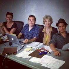CASTING DIRECTOR Patti Kalles (second from right) joined the production team in Los Angeles last October for casting sessions.